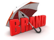 Brand under Umbrella (clipping path included) Royalty Free Stock Image