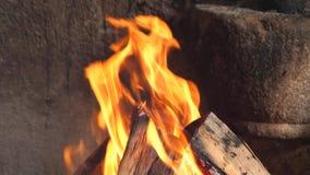 Brand voor grill langzame motie stock video