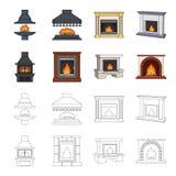 Brand, warmte en comfort Pictogrammen van de open haard de vastgestelde inzameling in beeldverhaal, van de het symboolvoorraad va royalty-vrije illustratie