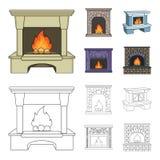Brand, warmte en comfort Pictogrammen van de open haard de vastgestelde inzameling in beeldverhaal, van de het symboolvoorraad va stock illustratie