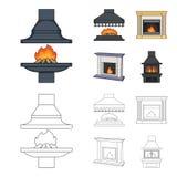 Brand, warmte en comfort Pictogrammen van de open haard de vastgestelde inzameling in beeldverhaal, van de het symboolvoorraad va vector illustratie