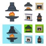 Brand, warmte en comfort Pictogrammen van de open haard de vastgestelde inzameling in beeldverhaal, het vlakke Web van de de voor vector illustratie