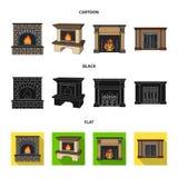 Brand, warmte en comfort Pictogrammen van de open haard de vastgestelde inzameling in beeldverhaal, het zwarte, vlakke Web van de royalty-vrije illustratie