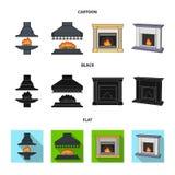 Brand, warmte en comfort Pictogrammen van de open haard de vastgestelde inzameling in beeldverhaal, het zwarte, vlakke Web van de stock illustratie