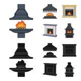 Brand, warmte en comfort Pictogrammen van de open haard de vastgestelde inzameling in beeldverhaal, het zwarte Web van de de voor stock illustratie