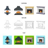 Brand, warmte en comfort Pictogrammen van de open haard de vastgestelde inzameling in beeldverhaal, overzicht, vlakke de voorraad royalty-vrije illustratie