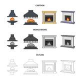 Brand, warmte en comfort Pictogrammen van de open haard de vastgestelde inzameling in beeldverhaal, overzicht, de zwart-wit voorr vector illustratie