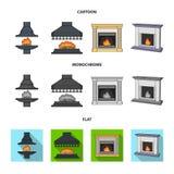 Brand, warmte en comfort Pictogrammen van de open haard de vastgestelde inzameling in beeldverhaal, de vlakke, zwart-wit voorraad stock illustratie