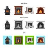 Brand, warmte en comfort Pictogrammen van de open haard de vastgestelde inzameling in beeldverhaal, de vlakke, zwart-wit voorraad vector illustratie