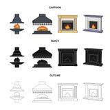 Brand, warmte en comfort Pictogrammen van de open haard de vastgestelde inzameling in beeldverhaal, zwarte, illustratie van de he stock illustratie
