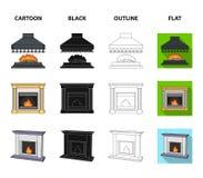 Brand, warmte en comfort Pictogrammen van de open haard de vastgestelde inzameling in beeldverhaal, zwarte, overzicht, de vlakke  vector illustratie