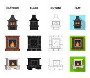 Brand, warmte en comfort Pictogrammen van de open haard de vastgestelde inzameling in beeldverhaal, zwarte, overzicht, de vlakke  royalty-vrije illustratie