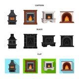 Brand, warmte en comfort Pictogrammen van de open haard de vastgestelde inzameling in beeldverhaal, zwarte, vlakke de voorraadill vector illustratie