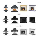 Brand, warmte en comfort Pictogrammen van de open haard de vastgestelde inzameling in beeldverhaal, de zwarte, zwart-wit voorraad vector illustratie