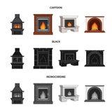 Brand, warmte en comfort Pictogrammen van de open haard de vastgestelde inzameling in beeldverhaal, de zwarte, zwart-wit voorraad royalty-vrije illustratie