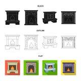 Brand, warmte en comfort Pictogrammen van de open haard de vastgestelde inzameling in van de het symboolvoorraad van de beeldverh vector illustratie