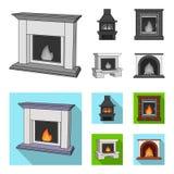 Brand, warmte en comfort Pictogrammen van de open haard de vastgestelde inzameling in het zwart-wit, vlakke Web van de de voorraa vector illustratie