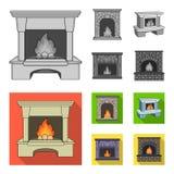 Brand, warmte en comfort Pictogrammen van de open haard de vastgestelde inzameling in het zwart-wit, vlakke Web van de de voorraa stock illustratie