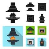 Brand, warmte en comfort Pictogrammen van de open haard de vastgestelde inzameling in het zwarte, vlakke Web van de de voorraadil vector illustratie