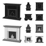 Brand, warmte en comfort Pictogrammen van de open haard de vastgestelde inzameling in het zwarte, zwart-wit Web van de de voorraa stock illustratie