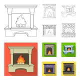 Brand, warmte en comfort Pictogrammen van de open haard de vastgestelde inzameling in overzicht, het vlakke Web van de de voorraa vector illustratie