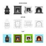 Brand, warmte en comfort Pictogrammen van de open haard de vastgestelde inzameling in vlakte, overzicht, de zwart-wit voorraad va stock illustratie