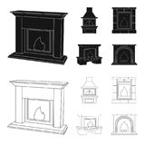 Brand, warmte en comfort Pictogrammen van de open haard de vastgestelde inzameling in zwarte, van de het symboolvoorraad van de o royalty-vrije illustratie