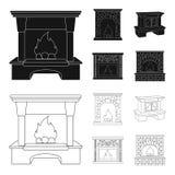 Brand, warmte en comfort Pictogrammen van de open haard de vastgestelde inzameling in zwarte, van de het symboolvoorraad van de o vector illustratie