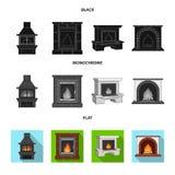 Brand, warmte en comfort Pictogrammen van de open haard de vastgestelde inzameling in de zwarte, vlakke, zwart-wit voorraad van h stock illustratie