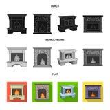 Brand, warmte en comfort Pictogrammen van de open haard de vastgestelde inzameling in de zwarte, vlakke, zwart-wit voorraad van h royalty-vrije illustratie