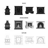 Brand, warmte en comfort Pictogrammen van de open haard de vastgestelde inzameling in zwarte, zwart-wit, vector het symboolvoorra royalty-vrije illustratie