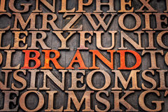 Brand word abstract in wood type. Printing blocks stained by red ink Stock Image