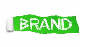 BRAND. Word collage appearing behind green torn paper.  royalty free illustration
