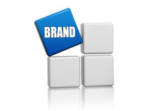Blue cube with word brand on boxes Royalty Free Stock Image
