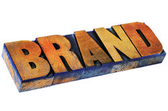 Brand word in letterpress wood type Stock Photos