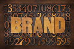 Brand word in wood type Stock Photos
