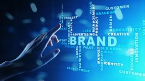 Brand words cloud on virtual screen. Branding, Marketing and Advertising concept. Brand words cloud on virtual screen. Branding, Marketing and Advertising stock images