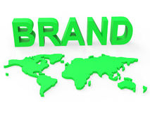 Brand World Shows Company Identity And Brands. World Brand Representing Company Identity And Globe Royalty Free Stock Photography