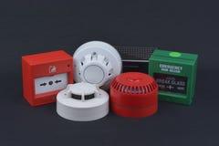 Brandalarmveiligheid op dark Royalty-vrije Stock Afbeelding