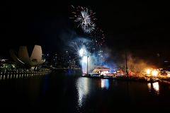 Brandarbeten i marinafjärd Royaltyfria Bilder