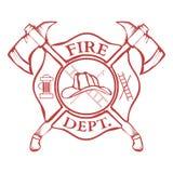 Brandavdelning etikett Hjälm med korsade yxor vektor Fotografering för Bildbyråer