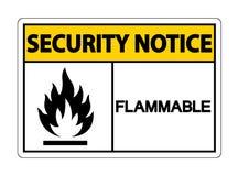 Brandbaar het Symboolteken van het veiligheidsbericht op witte achtergrond, Vectorillustratie stock illustratie