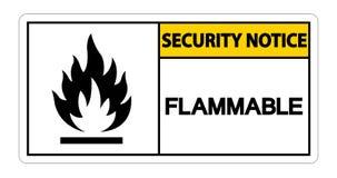 Brandbaar het Symboolteken van het veiligheidsbericht op witte achtergrond, Vectorillustratie vector illustratie