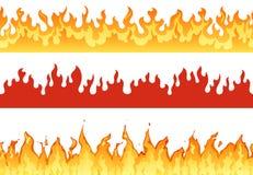 Brandbaner Flammagräns som flammar konturn eller eviga flammor Helvete som flammar banerillustrationuppsättningen stock illustrationer
