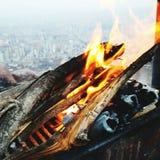 Brandbarbecue in Ali Mountain, Kayseri Royalty-vrije Stock Foto