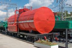 Brandbehållarevagn på stationen Royaltyfria Bilder