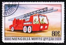 Brandbekämpninglastbil med ledder, serie, circa 1977 Arkivfoton