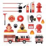 Brandbestrijder Colored Icon Set Stock Afbeeldingen