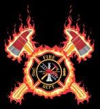 Brandbestrijder Cross With Axes en Vlammen Stock Afbeelding