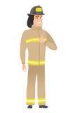 Brandbestrijder die duim op vectorillustratie geven Stock Afbeeldingen